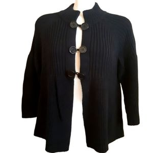 Laura   black cable knit toggle button up